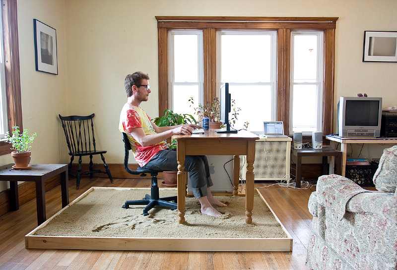 man working from home at desk