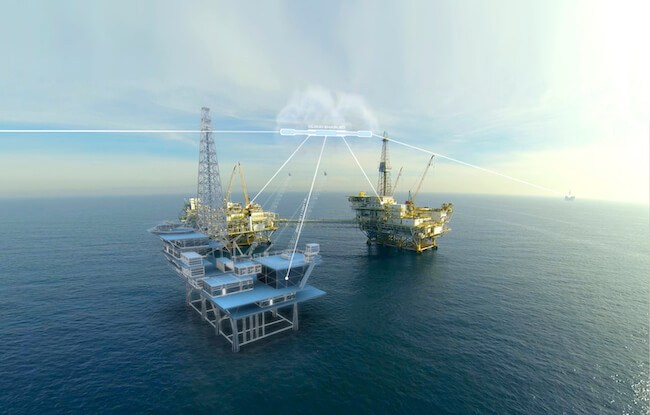 oil rig digital twin on ocean
