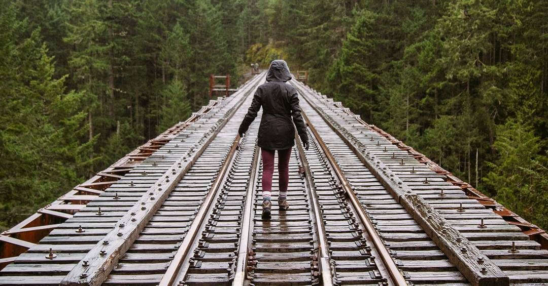 Human walking on Trestle Bridge in Gold Stream Provincial Park Victoria BC